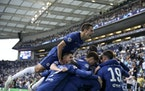 Chelsea's Kai Havertz celebrates with teammates after scoring his side's opening goal during the Champions League final