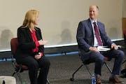 GOP Senate leader Paul Gazelka, right, sees little interest in changes presented by  DFL House leader Melissa Hortman .