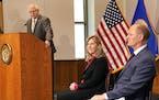 Gov. Tim Walz spoke as the podium as DFL House Speaker Melissa Hortman and GOP Senate Majority Leader Paul Gazelka joined in a light moment.