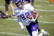 The Vikings cut tight end Kyle Rudolph in March, but the salary cap savings are going to hit this week.
