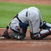 Twins catcher Mitch Garver was in pain after being struck by a foul tip on Tuesday in Baltimore.