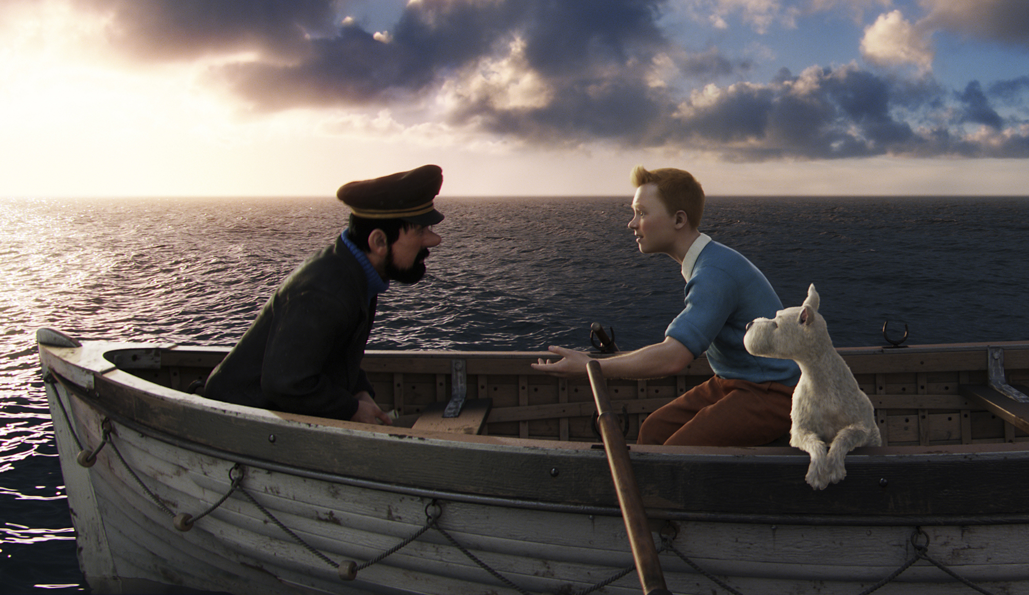 Captain Haddock (Andy Serkis), Tintin (Jamie Bell), and Snowy in 'The Adventures of Tintin.'