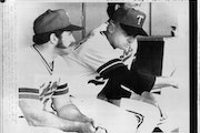 Twins manager Gene Mauch (right) gestured with a sweeping arm to newly acquired relief pitcher Mike Marshall on June 26, 1979.