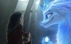 "Raya (voiced by Kelly Marie Tran) and Sisu (Awkwafina) in ""Raya and the Last Dragon."""