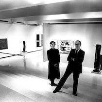 Spouses Mildred Friedman (the museum's design curator) and Milton Friedman (the museum's director) in one of the Walker Art Center's loft-like,