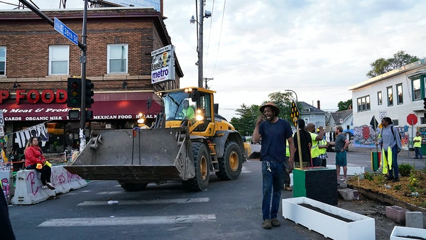 City workers clear portions of George Floyd Square in Mpls.