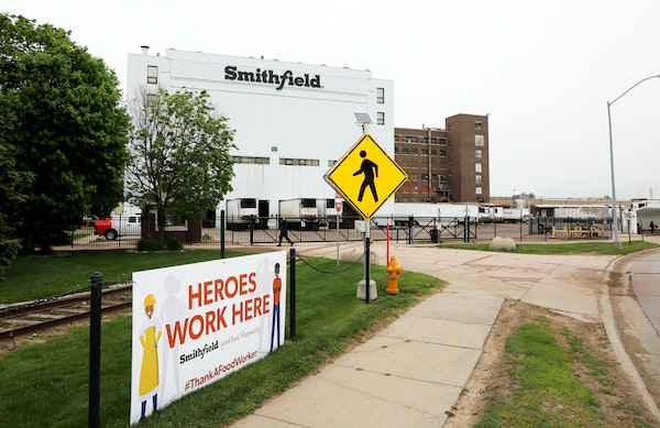 The entrance to the Smithfield Foods pork plant in Sioux Falls, S.D.