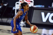 Crystal Dangerfield, shown here in September, scored 17 points off the bench Sunday in a win over Atlanta.