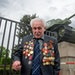 92-year-old Soviet war veteran David Dushman stands at the Soviet Memorial in Berlin, Friday, May 8, 2015. Along with other veterans he is remembering