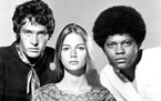 """Clarence Williams III, right, with Michael Cole and Peggy Lipton, in """"The Mod Squad,"""" 1968."""