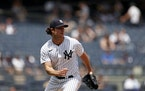 New York Yankees pitcher Gerrit Cole (45) in action during the first inning of a baseball game against the Chicago White Sox on Saturday, May 22, 2021