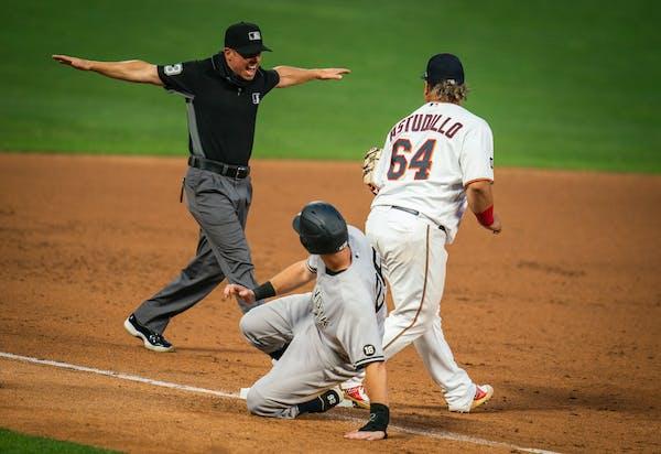 Yankees first baseman DJ LeMahieu was safe at third base.
