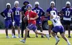Vikings quarterback Kirk Cousins at practice Wednesday.