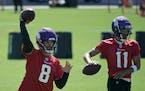 Vikings began OTA's at TCO Performance Center. Quarterbacks Kirk Cousins and Kellen Mond.