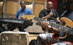 Gary Hines left, and Billy Steele, assistant director, rehearsed the Sounds of Blackness band.