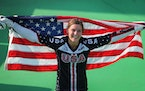 2016: Alise Willoughby, then Alise Post, celebrated her 2016 silver medal in the women's BMX at the Rio Olympics.