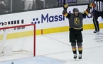 Vegas left wing Max Pacioretty celebrates after scoring against the Colorado Avalanche during the third period in Game 6