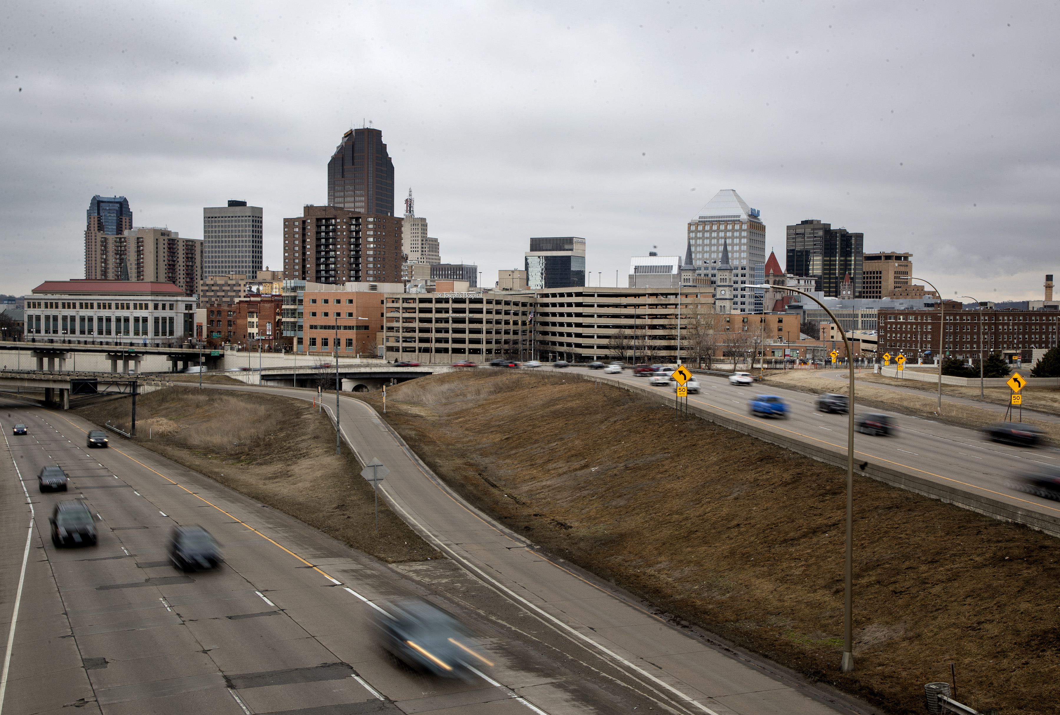 Cars on Interstate 94 outside of downtown St. Paul. The freeway's path through the city was once a Native American trail.