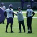 Vikings defensive ends D.J. Wonnum (98) and Stephen Weatherly (91) at practice this spring.