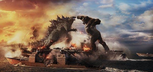 "Godzilla battles Kong in ""Godzilla vs. Kong."""