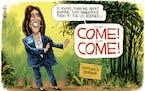 Editorial cartoon: Rick McKee on Harris' border plan