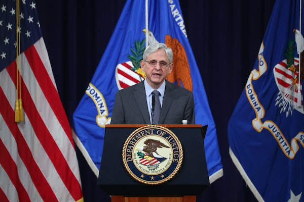 U.S. Attorney General Merrick Garland speaks about voting rights, at the Department of Justice in Washington, on Friday, June 11, 2021.