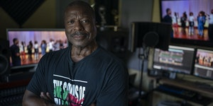 Portait of Gary Hines at Atomic K Studio .]  Jerry Holt •Jerry.Holt@startribune.com  Profile of Gary D. Hines, Music Director and Producer of the