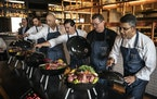FireLake Grill executive chefs — from left, Albert Raven, Leonard Ventura, Edgar Beas, Robert Foster  and Dinesh Jayawardena — unveiled their ingr