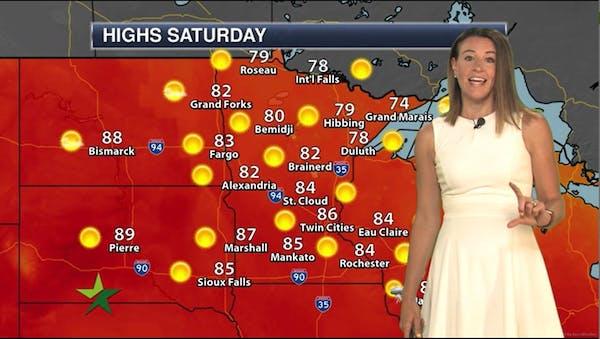 Morning forecast: 86, sunny, less humid