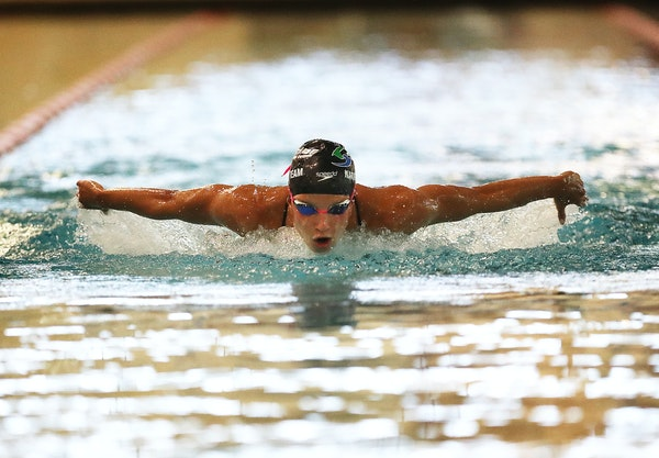 last-minute laps: Regan Smith trained for the upcoming U.S. Olympic swim trials at the Brooklyn Center Community Center pool Wednesday.    top candida