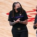 L.A. assistant coach and former Lynx star Seimone Augustus greeted fellow former Lynx star Rebekkah Brunson. Both will have their jerseys retired by t