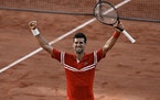 Serbia's Novak Djokovic celebrates as he defeats Stefanos Tsitsipas of Greece during their final match of the French Open tennis tournament at the R