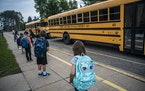 In this file photo from 2020, children arrive for classes at Forest View Elementary in Forest Lake.  RICHARD TSONG-TAATARII • richard.tsong-taatarii