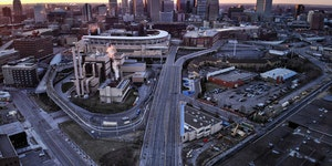 There were few cars heading into or out of downtown Minneapolis at sunrise Monday morning, March 30, 2020. The Minnesota Department of Transportation