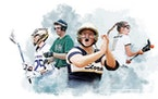 Representing 2021 spring high school state tournaments: clockwise from bottom right are Sydney Schwartz, Chanhassen softball; Tyr Christianson, Chanha