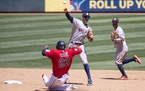 The Twins grounded into two double plays, including this one in the fourth inning on Sunday.