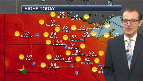 Afternoon forecast: Warm sun, dry air; high 87
