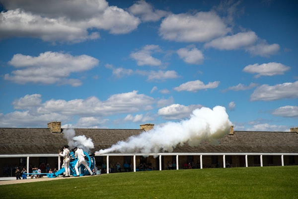 Historic Fort Snelling employees demonstrated an artillery drill and fired a canon for the fort's visitors in 2019. Under proposed GOP legislation,