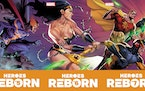 """The covers to """"Heroes Reborn"""" #5-7 connect to form this triptych featuring the five main members of the Squadron Supreme.  From left, they are Nig"""