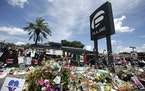 A makeshift memorial outside the Pulse nightclub in Orlando, Fla., on July 11, 2016.