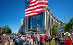 Protesters gathered first at the Senate Office Building, then later in the State Capitol, to support Rep Erik Mortensen�s Never Again Bill trying to