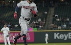 The Twins' Gilberto Celestino rounded the bases after hitting a solo home run during the fourth inning of a 4-3 loss to the Mariners in Seattle on M