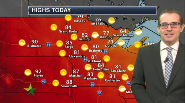 Morning forecast: Mild and dry, high 84