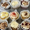 Dessertopia's bakery case is anchored by cupcakes.