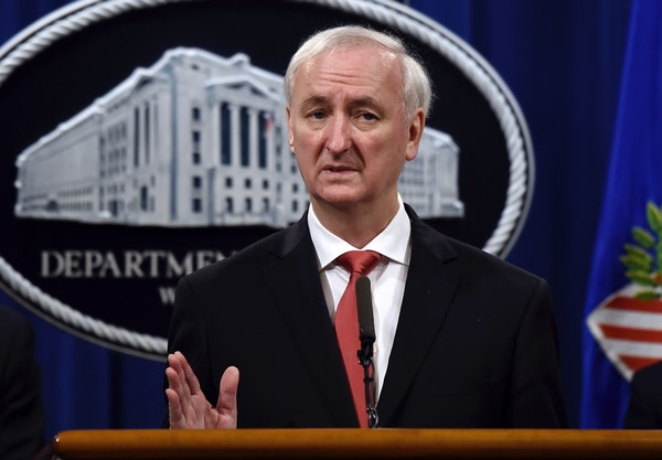 File - In this Sept. 22, 2020 file photo, then Deputy Attorney General Jeffrey Rosen speaks during a press conference at the Department of Justice in
