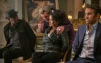 "Antonio Banderas, back, joins Samuel Jackson, Salma Hayek and Ryan Renolds in ""The Hitman's Wife's Bodyguard."""
