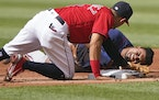 Luis Arraez injured a shoulder sliding into second on May 22 in Cleveland.