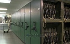 This Oct. 11, 2017, image from video made available by the U.S. Air Force shows a gun vault at the Malmstrom Air Force Base in Great Falls, Mont. In t