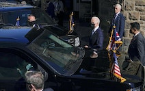 U.S. President Joe Biden, center, left after attending Mass at Sacred Heart and St. Ia Catholic Church, in St. Ives, southern England, Sunday, June 13