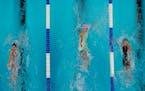 Katharine Berkoff, Regan Smith and Olivia Smoliga participate in the women's 100 backstroke